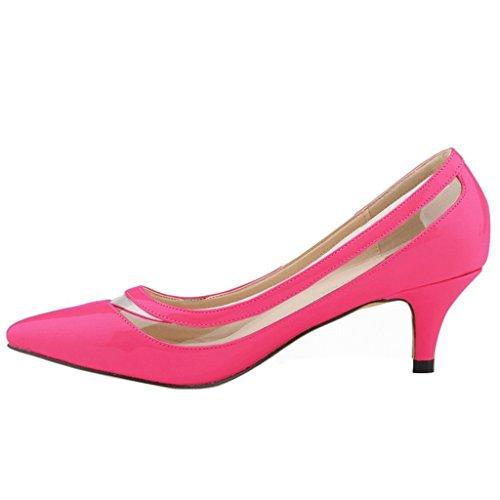 MERUMOTE - Zapatos de tacón fino Mujer Rojo - Rosa-Lackleder