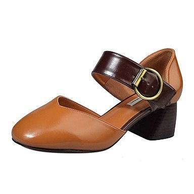 Summer amp;Amp; Beige Leatherette 3 US8 EU39 1 Light CN39 Brown Buckle Chunky UK6 Gray Loafers 4In Ons Heel Women'S Slip 1In Fall XFqva5