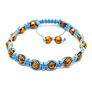 Rave Mens Bracelet Gold Round Beads in Plated Alloy, Light Blue Wax Cord Shamballa Inspired, Adjustable