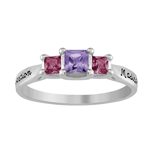 ArtCarved Victoria Amethyst and Rose Zircon Personalized Women's Ring, Sterling Silver, Size 9