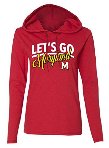 Ncaa Maryland Terrapins Womens Long Sleeve Hooded T Shirt  Red  Medium