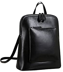 66d91f9330 Heshe Women s Vintage Leather Backpack Casual Daypack for Ladies and Girls  (Black)