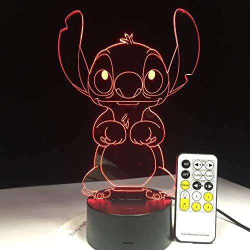 Lá mpara de Led 3D Dormitorio Stitch Mesa Luz de Noche Acrí lico Panel Usb Cable 7 Colores Cambiar Base de la Lá mpara Regalo de Los Niñ os al por mayor Eqwr