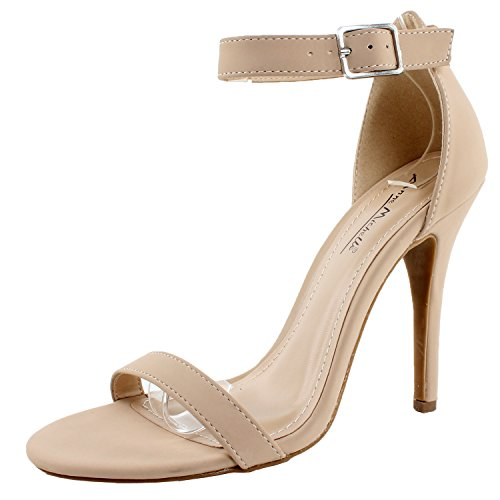 Anne Michelle Womens Enzo-01N Ankle Strap Open Toe Stiletto High Heel Dress SandalNude Nubuck-017