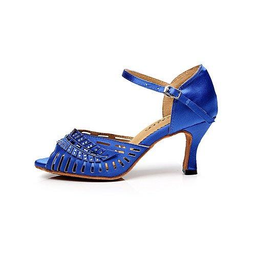 Sandalias Profesional Salsa Indoor T Jazz T Satén para Azul Latinas Rojo Negro de Performance Q piel Baile Tango Zapatos Piel Mujer de Swing Tacón Practice Aguja aCxCUqPw