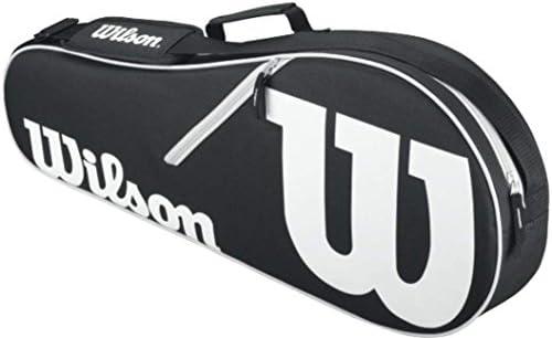 Wilson Federer Black Red Adult Pre-Strung Recreational Tennis Racquet Oversize or Midplus Starter Kit or Set Bundled with a Black White Advantage II Tennis Racket Bag