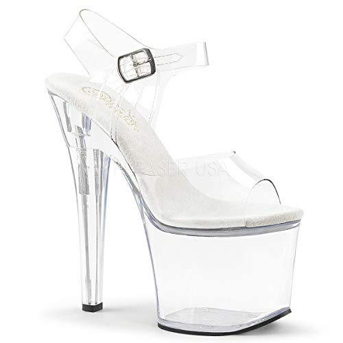 Pleaser Women's Radiant-708 Ankle-Strap Sandal Clear/Clear