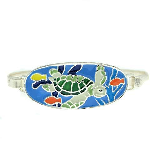 (Turtle Enamel Hand Painted Sea Life Bangle Bracelet )