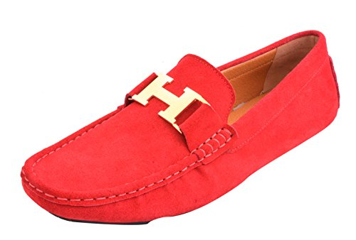 Santimon Mens Moccasin Loafers Nubuck Leather Gold Buckle Driving Car Shoes Red gcjXP