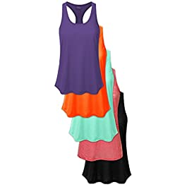 Women's 5 Pack Everyday Flowy Burnout Racer Back Active Workout Tank Tops