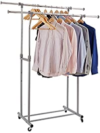 garment rack rackarster double rail adjustable clothes rack heavy duty rolling clothing hanging rack with - Hanging Clothes Rack