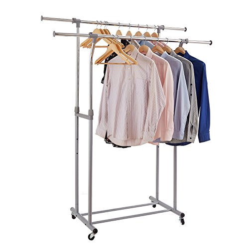 Garment Rack, Rackarster Double Rail Adjustable Clothes Rack Heavy Duty Rolling Clothing Hanging Rack with Wheels, Chrome & Gray