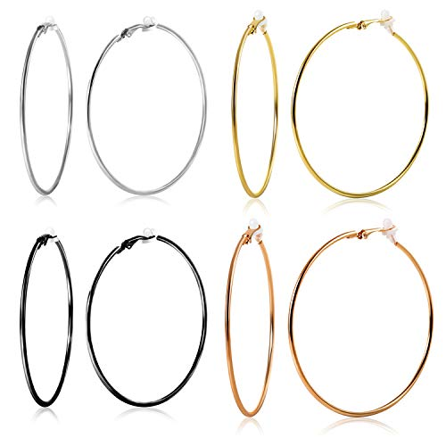 OwMell 4 Pairs 5cm Large Hoop Clip On Earrings for Women Silver Rose Gold Black Hoop Earrings for Non-Pierced