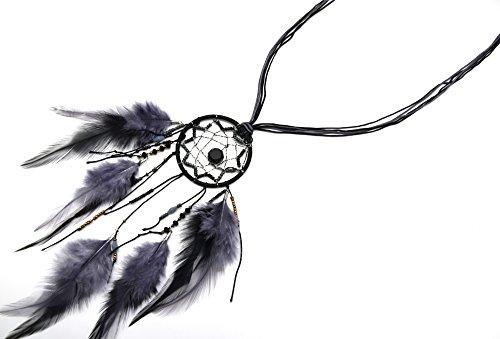 CL988D - Sautoir Collier Multi-Fils Attrape Rêves Dreamcatcher Perles Rocaille et Plumes Ethnique Noir/Gris - Mode Fantaisie