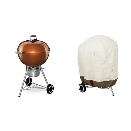 Weber 14402001 Original Kettle Premium Charcoal Grill, 22-Inch, Copper & AmazonBasics Kettle Grill Cover (Grill Outdoor Weber Copper)