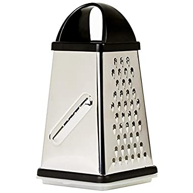 Oliver & Kline Boxed Grater - Best 4-Sided Cheese Grater & Vegetable Slicer with Storage Container Set - Stainless Steel Box Surface Glide Technology - Perfect for Fruits, Vegetables, & Spices