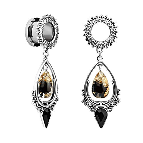 KUBOOZ 1 Pair Water-Drop Vintage Pendant Stainless Steel Ear Plugs Tunnels Gauges Stretcher Piercings 00g