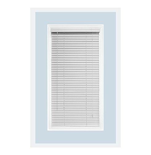 Delta Blinds Supply Custom-Made Aluminum Horizontal Window Mini Blinds, 1 Inch Slats, White Gloss, Inside Mount
