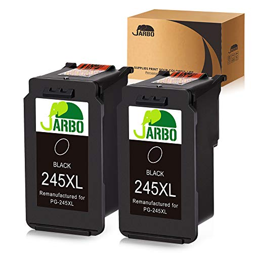JARBO Remanufactured for Canon PG-245XL PG-245 245 245XL 245 XL Black Ink Cartridge, 2 Black, High Yield, for Canon PIXMA MG2520 MG2920 MG2922 MG2924 MG2420 MG2522 MG2525 MG3020 MG2555 MX490 MX49