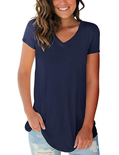Juniors T Shirts Cotton Soft Teen Girls Summer Comfortable Tops Plus Size Navyblue XXL