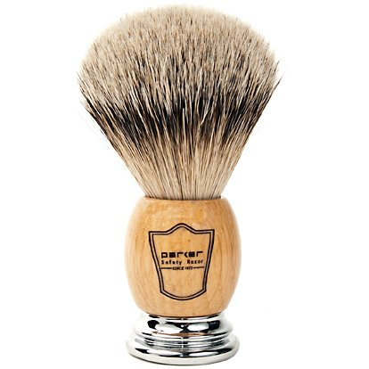 Parker Safety Razor 100% Silvertip Badger Bristle Shaving with Deluxe Olivewood & Chrome Handle - Brush Stand Included ()