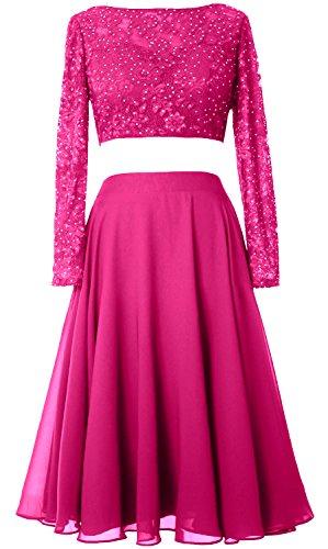 MACloth Elegant 2 Piece Long Sleeve Cocktail Dress Short Lace Prom Formal Gown Fuchsia gdOSZy