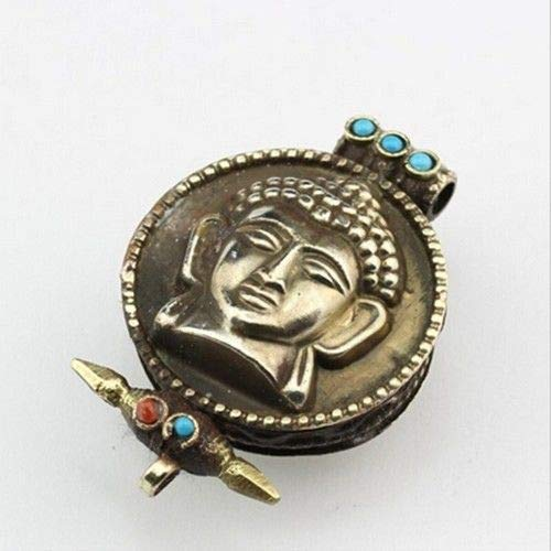 (Large Tibetan Turquoise Red Coral Lord Sakyamuni Ghau Prayer Box Amulet Pendant)