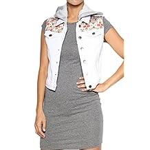 TheMogan Women's Hooded Denim Vest Sleeveless Jean Jacket