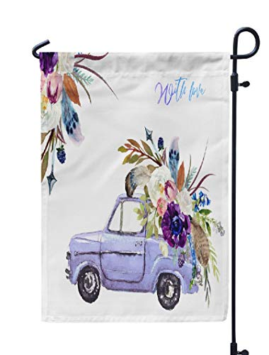(KJONG Arrows-Flower Garden Flag,12x18 inch Seasonal Flag Watercolor Valentine Day Purple Car Amp Flower Floral Bouquet Weatherproof Double Sided Outdoor Flags for Yard Patio House Decorations)