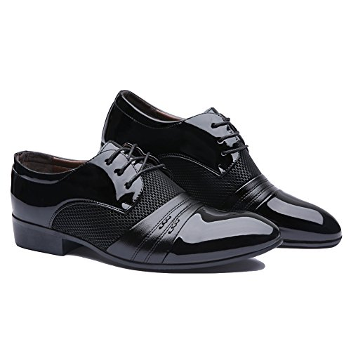 Blivener Mens Pointed Toe Pleather Dress Shoes Casual Oxford Black h2ACClUr