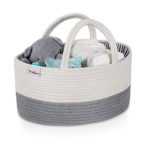 Cotton Rope Portable Baby Diaper Caddy- Nursery Wipes and Diapers Storage Bin with Handles - Car Diaper Caddy Organizer for Changing Table, Travel Tote Bag for Newborns, Infants and Toddlers