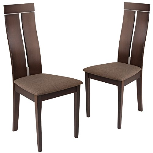 Flash Furniture 2 Pk. Avalon Espresso Finish Wood Dining Chair with Clean Lines and Golden Honey Brown Fabric Seat
