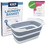 Kool Kitchen Pros Collapsible Laundry Basket - Foldable Plastic Laundry Hamper with a Free Set of 2 Mesh Laundry Bag - Large Pop-Up Clothes Baskets - Space Saving Folding Hampers for Dorm Room