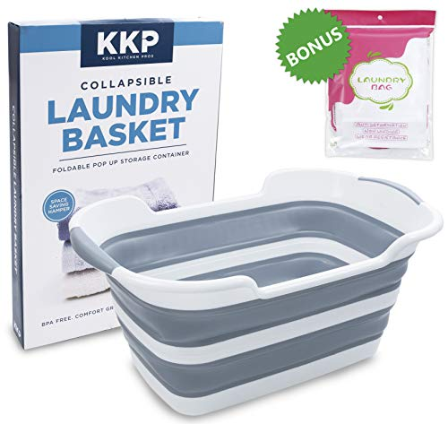 Kool Kitchen Pros Collapsible Laundry Basket - Foldable Plastic Laundry Hamper with a Free Set of 2 Mesh Laundry Bag - Large Pop-Up Clothes Baskets - Space Saving Folding Hampers for Dorm Room (Baskets Laundary)
