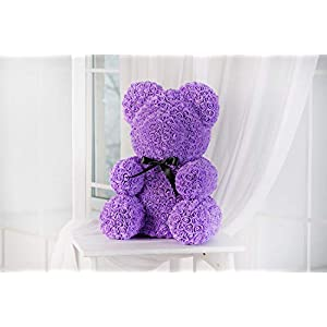 Teddy Bear Rose - Purple, Rose Bear, Forever Rose Bear, Love Bear, Faux Flower Rose Teddy Bear, Forever Purple Rose Bear 73