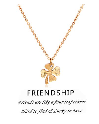 Geerier Lucky Four Leaf Clover Pendent Necklace Wish Message Card Friendship Jewelry for Women(Clover) ()