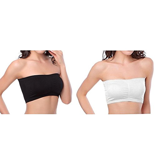Women's Plus Size Padded Bandeau Strapless Bras Stretch Seamless Tube Top Bra by HOVEOX (X-Large, 2PACK/Lot (Black + white)) (Boob Top Tube)