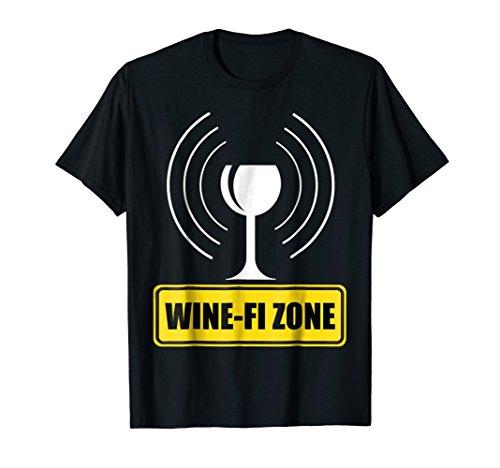 Wine-Fi Zone Yellow Rod Sign Funny Wine Glass WiFi Waves T-Shirt