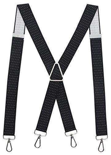 Calvertt Suspenders for Men - X - Shape Belt Loop Elastic Suspenders (Black Dot)