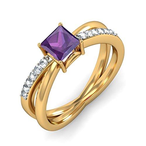 18K Or jaune, 0,12carat Diamant Blanc (IJ | SI) Améthyste et diamant Bague