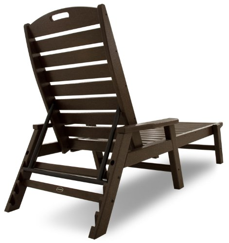POLYWOOD NCC2280MA Nautical Chaise with Arms - Stackable, Mahogany