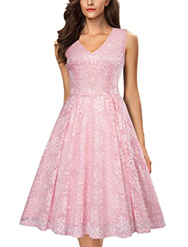 Noctflos Elegant Lace V Neck Fit & Flare Midi Cocktail Dress for Women Party Wedding (X-Large, Pink)