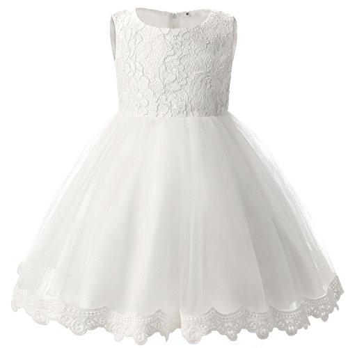 TTYAOVO Girls Lace Tulle Flower Princess Party Toddler and Baby Girl Dress Size 3-6 Months White