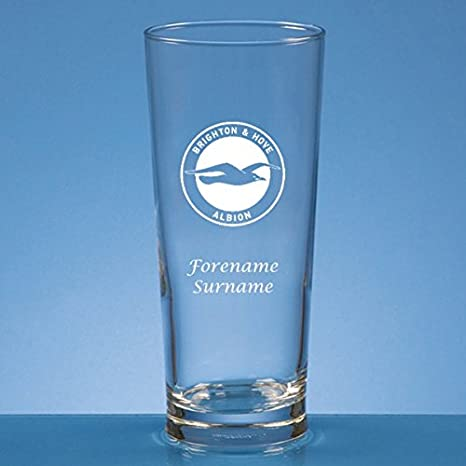 Brighton & Hove Albion FC Official Personalised Crest Straight Sided Pint Glass