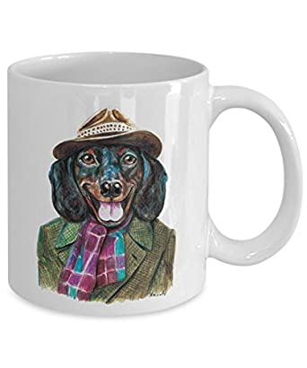 Funny Dachshund Wearing a Hat Mug - Cool Ceramic Dachshund Coffee Cup (15oz)