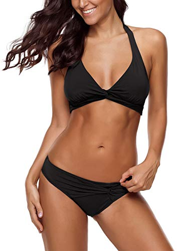 Vetinee Women's Black Halter Self Tie Twist Knot Ruched Two-Piece Bikini Set Swimsuit Large