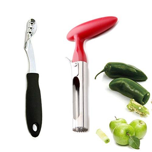 - Household Jalapeno Pepper and Apple Corer Set for Remover Zucchini or Pear Fruit Vegetable Seeds,Creative Kitchen Cooking Accessories Tool