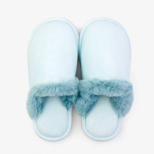 DogHaccd pantofole,Home paio di pantofole di cotone, spessa caldo inverno piscina incantevole soggiorno pantofole di peluche maschio,Blu chiaro
