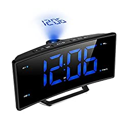 Digital Projection Clock, Atmoko FM Radio Alarm Clock with USB Charging Port, Dual Alarms, Snooze Function, 2-inch Large LED Display with Dimmer, Sleep Timer