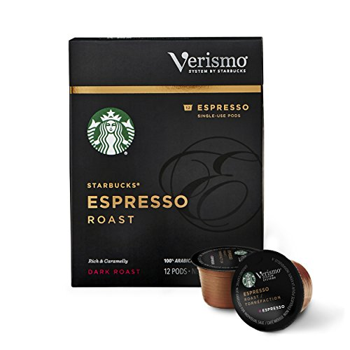 Starbucks Verismo Espresso Roast Espresso Single Serve Verismo Pods, Dark Roast, 6 boxes of 12 (72 total Verismo - Espresso Pods Coffee